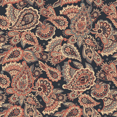 Paisley Floral oriental ethnic Pattern. Seamless Arabic Ornament. Ornamental motifs of the Indian fabric patterns