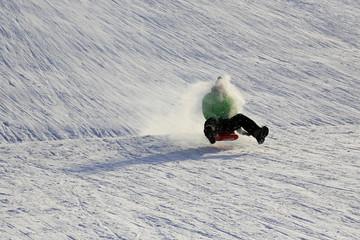 Wintersport: Schussfahrt auf dem Rodelhang!