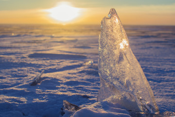 Ice hummock on the ice of the Gulf Finland on sunrise, Baltic Sea