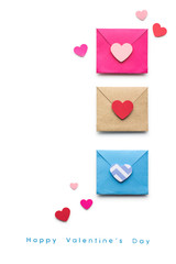 Love message / Creative valentines concept photo of  three envelopes with hearts made of paper on white background.
