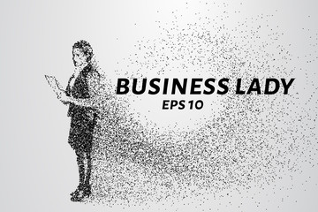 Business woman. Silhouette of particles. Vector illustration of business lady dots and circles