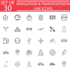 Navigation line pictograms package, Transportation symbols collection, map & location vector sketches, logo illustrations, linear icons isolated on white background, eps 10.