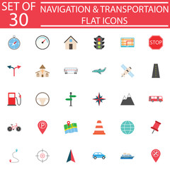 Navigation line pictograms package, Transportation symbols collection, map & location vector sketches, logo illustrations, colorful flat icons isolated on white background, eps 10.