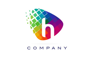 Letter H Colourful Rainbow Logo Design.