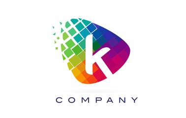 Letter K Colourful Rainbow Logo Design.