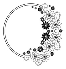 Elegant round frame with contours of flowers.  Vector clip art.