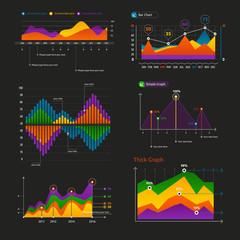 Graphs and charts set.