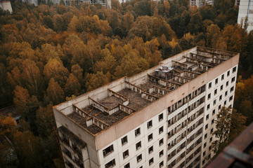 Aerial panorama view of Chernobyl exclusion zone with ruins of a