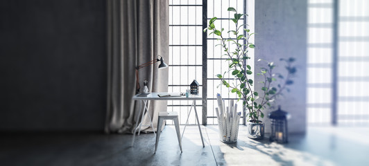 Desk and houseplant by windows in apartment