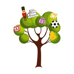 green tree with toys over white background. colorful design. vector illustration