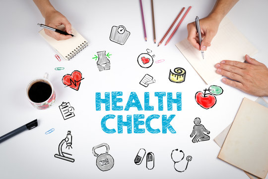 Health Check concept. Healty lifestyle background. The meeting at the white office table.
