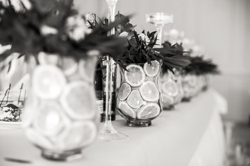 Black and white picture of vases with lemons standing on white t
