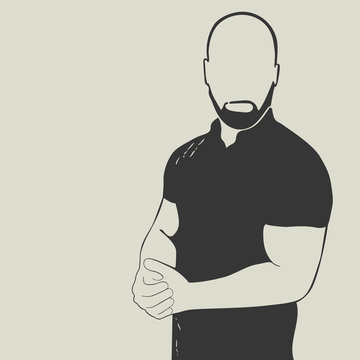 Bald man with a beard wearing a polo shirt. Isolated vector silhouette