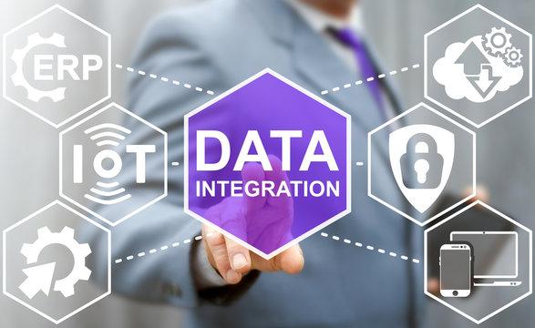 Data integration iot integration business internet computer network concept. Big data modernization erp information insurance database security communication web technology