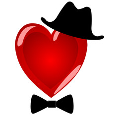 Mr heart. Character gentleman in a beautiful hat with a bow tie.