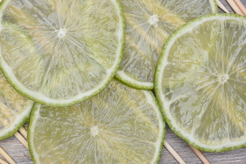 Fresh fruit slices lime top view