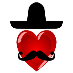 Mr heart. Colorful characters with a mustache in a large Mexican