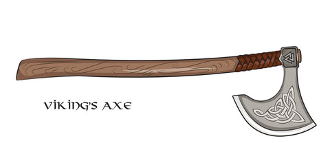 Axe Viking with ornamental Scandinavian