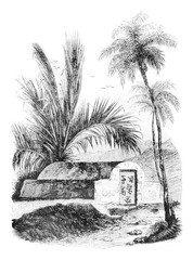 Chinese tomb at Ambon, Maluku Islands, vintage engraving.
