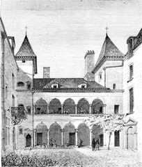 House known as Francois I, has Orleans, vintage engraving.
