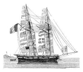 Pavoisse schooner, wetted, seen by starboard boudoir, vintage en
