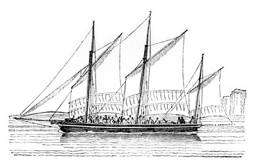 Barge at closer than abeam, vintage engraving.