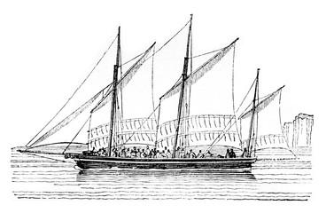 Barge at closer than abeam, vintage engraving.