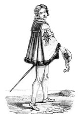 Knight of the Order of Fools, has Cleves, vintage engraving.