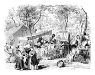 The flower market, vintage engraving.