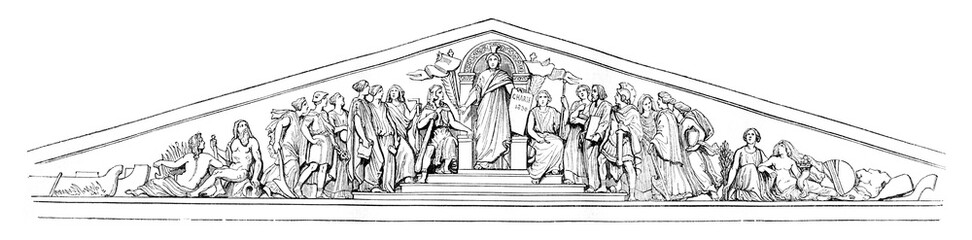 Pediment of the Chamber of Deputies, vintage engraving.