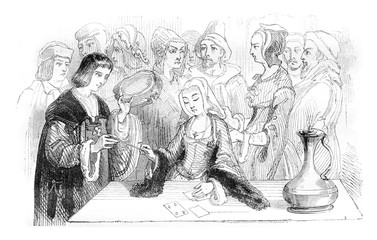 Philippe Lebon consulting a fortune-teller, vintage engraving.