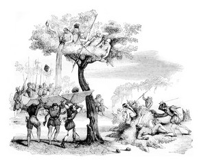 The Indians of Dabaibe, vintage engraving.