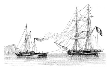 Tug Havre giving the trailer a merchant blog, vintage engraving.