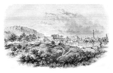 View of Tlemcen, vintage engraving.