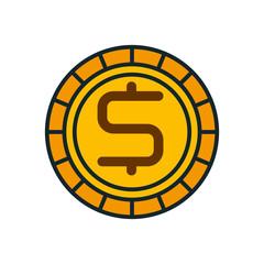 coin cash money flat icon vector illustration design