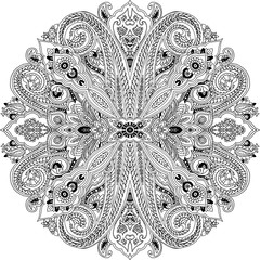 Circular abstract geometric paisley pattern. Traditional oriental ornament. Black outlines on white background. Textile design.