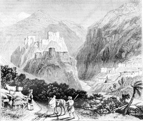 Mount Amanus. View of a castle in ruins, vintage engraving.