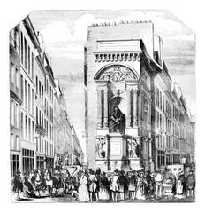 Fontaine Moliere at Richelieu, Paris, vintage engraving.
