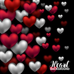 Valentines day card with volume hearts red and white on black background. February 14. Vector Illustration.