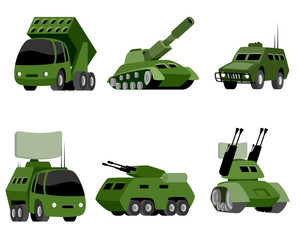 Six military vehicle