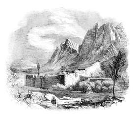 View of the Monastery of Saint Catherine on Mount Sinai, vintage