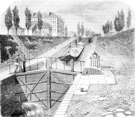 View of part of the Canal Saint Martin, vintage engraving.
