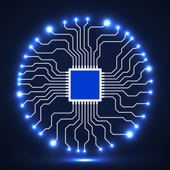Abstract Cpu. Microprocessor. Microchip. Circuit board. Vector