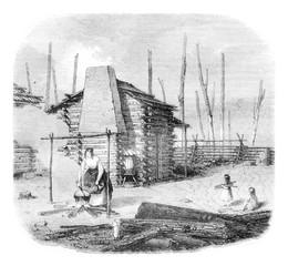 Hut American pioneers, vintage engraving.