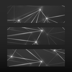 Banner with glowing connecting dots and lines. Abstract geometric background. Modern technology concept