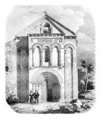 Church of Loupiac, the department of Gironde, vintage engraving.