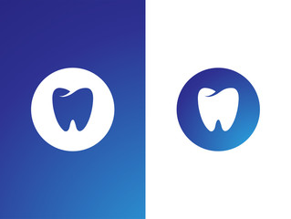 Dentist logo set for company on while, blue background - isolated vector