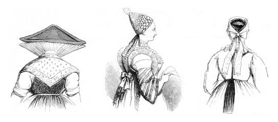 Hairstyles districts, vintage engraving.