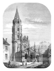 View of the church of Saint Pere, near Vezelay, vintage engravin
