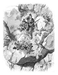 Tyrolean hunters, vintage engraving.